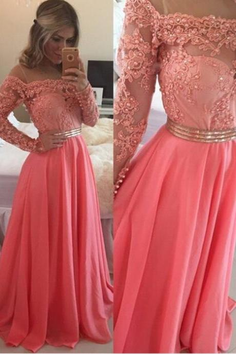 Sexy Long Homecoming Dresses,A-line Off the Shoulder Prom Dresses,Floor Length Watermelon Prom/Evening Dress with Long Sleeves