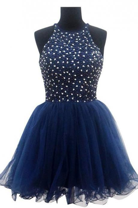 Navy Blue Short Halter Homecoming Dress with Sequin Embellishment