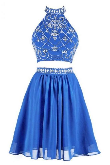 Modern Two piece Homecoming Dresses,Beading Homecoming Dresses,High Neck Short Blue Chiffon Homecoming Dress