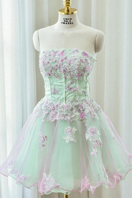 A-line Strapless Homecoming Dresses,Mini Prom Dress,Mint Organza Homecoming Dress With Appliques,Beading Homecoming Dresses