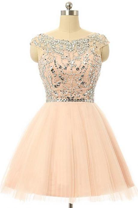 Tulle Homecoming Dress With Beading,A-line Scoop Knee-length Homecoming Dress,Coral Homecoming Dress With Crystal Sequins,b0003