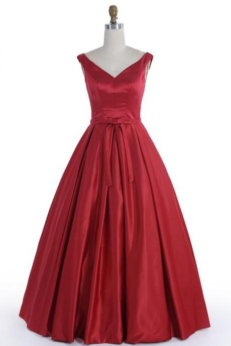 A-line V-neck Homecoming Dress,Long Burgundy Satin Lace-up Homecoming Dress,Long Prom Dress,120140000557