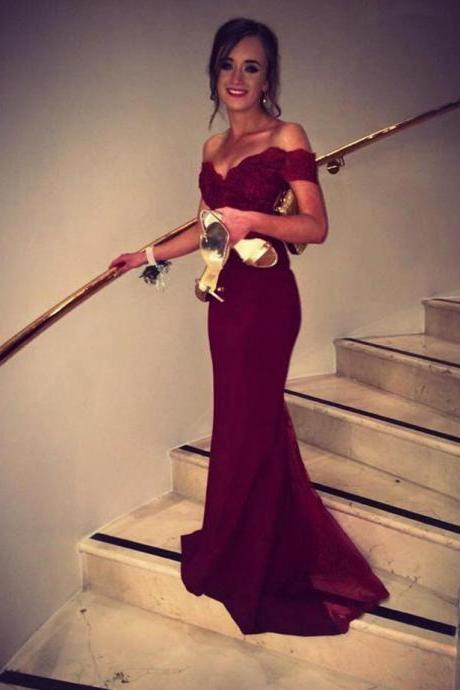 Mermaid Burgundy Off-the-Shoulder Sweep Train Lace Prom/Evening Dress,Chiffon Sleeveless Prom Dresses