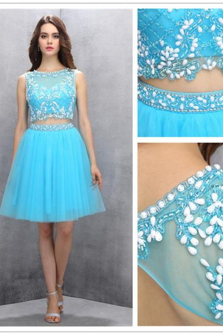 Two-piece Homecoming Gown,Blue Knee-length Homecoming Dress,Organza Open Back Homecoming Dress,Beading Homecoming Dress,130140000641