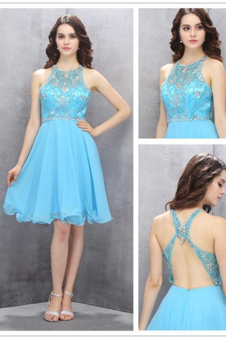 Blue Knee-length Homecoming Dresses,A-line Halter Homecoming Dress,Chiffon Backless Homecoming Dress with Beading,110140000638