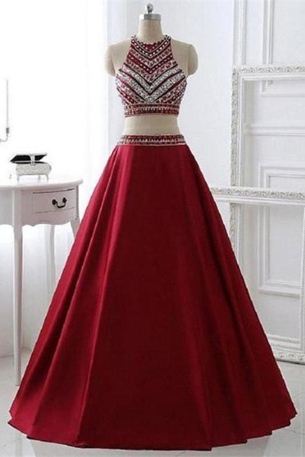 Two Piece High Neck Beaded Satin Long Prom Dress