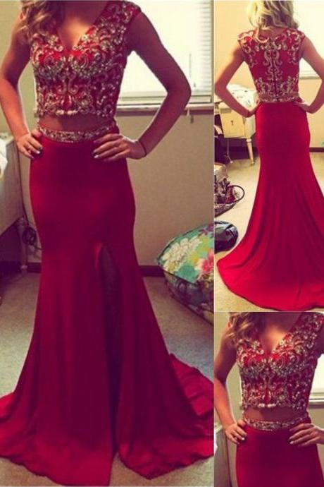 Mermaid Prom Dresses,Two Piece Evening Dress,Red V-Neck Sweep Train Prom Dress,Chiffon Party Dress With Beading,111043076