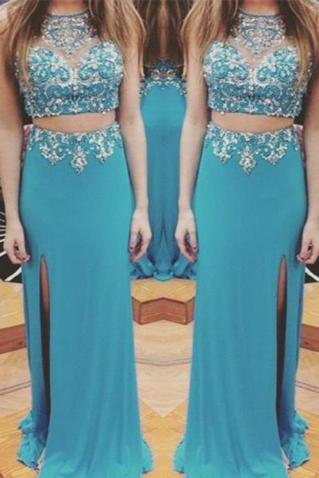 Blue Prom Dress,Two Piece Evening Dress,Two Piece Sheath Crew Neck Prom Dress,Sexy Floor Length Rhinestone Prom Dress,Long Chiffon Party Dress,111043081