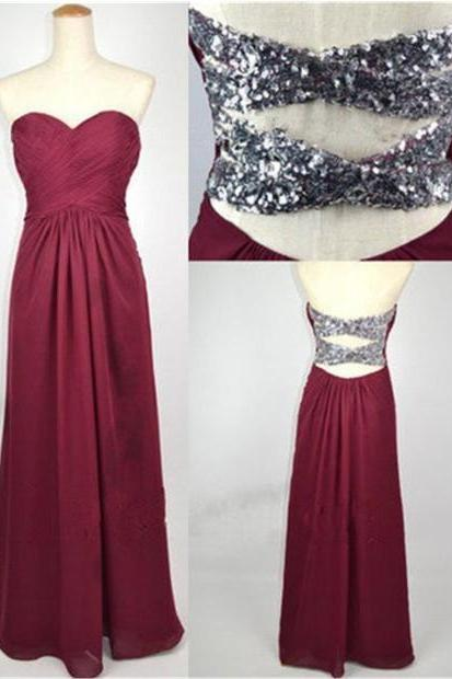 Strapless Sweetheart Ruched Chiffon A-line Floor-Length Prom Dress, Evening Dress Featuring Crisscross Sequin Back