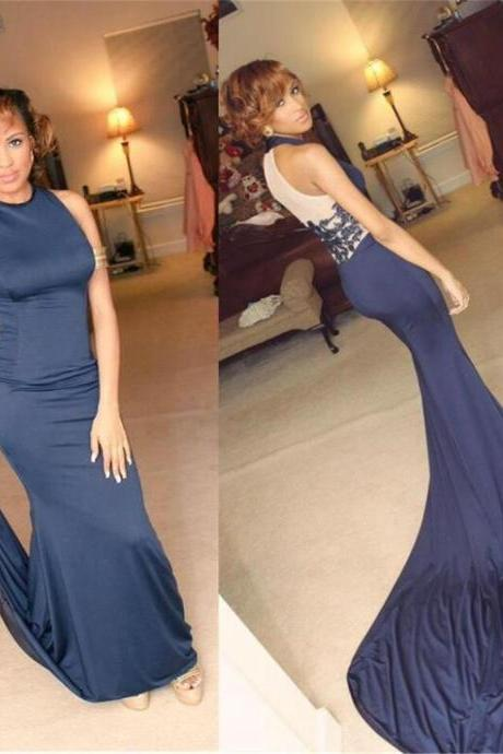 High Neck Prom Dresses, Blue Prom Dresses, Sexy Mermaid Prom Dresses, Party Dresses, Long Prom Dress