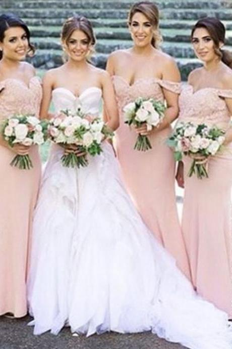 Junior Pretty Blush Pink Lace Off Shoulder Sweet Heart Mermaid Floor-Length Bridesmaid Dresses, WG55