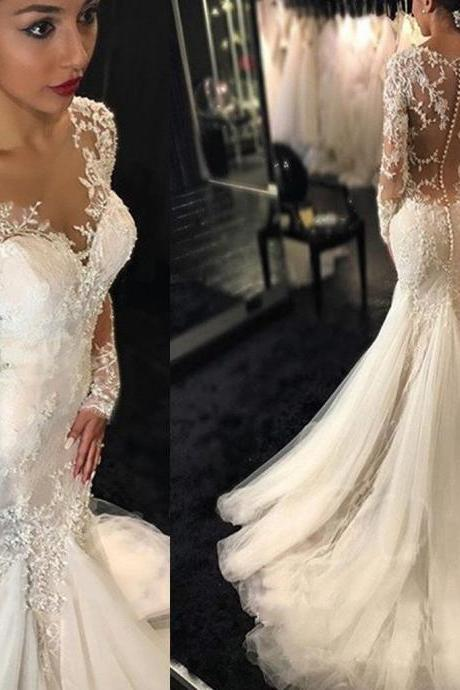 Luxury See Through Long Sleeve Sexy Mermaid Lace Tulle Wedding Dresses, WD0198