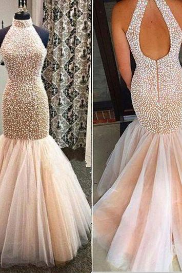 Hot Sales Champagne Tulle Colorful Beads Pearls Mermaid Prom Dresses,High Neck Open Back Evening Gowns Prom Dress,Shiny Long Women Evening Dresses