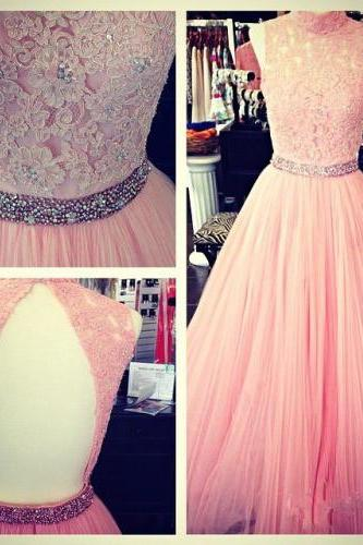 Sexy Ball Gown High Neck Sleeveless Open Back Tulle Pink Lace Prom Dress