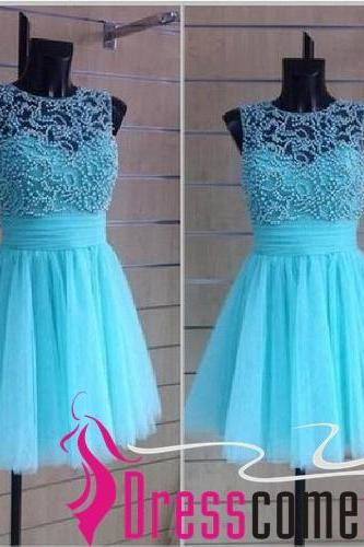 Cheap Ball Gown High Neck Sleeveless Light Blue Tulle Short Cocktail Dress