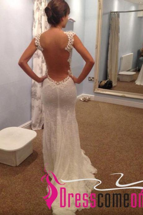 New Stylish Custom Mermaid With Straps Open Back Backless Bridal Wedding Dress Summer Beach Ivory Wedding Gown