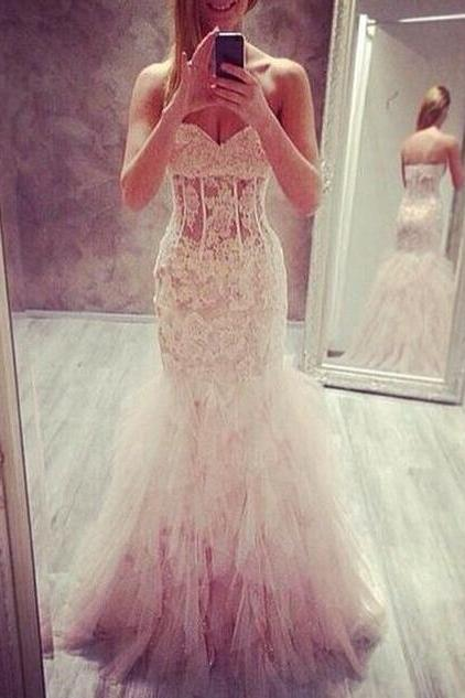 Mermaid White Lace Wedding Dresses Prom Dress Sexy Sweetheart Tulle Long Evening Gown