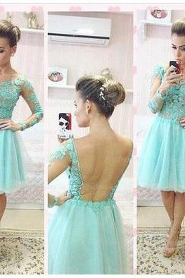 long sleeve prom dress, lace prom dress, mint prom dress, short prom dress, cheap prom dress, prom dress 2017, custom prom dress, 15151
