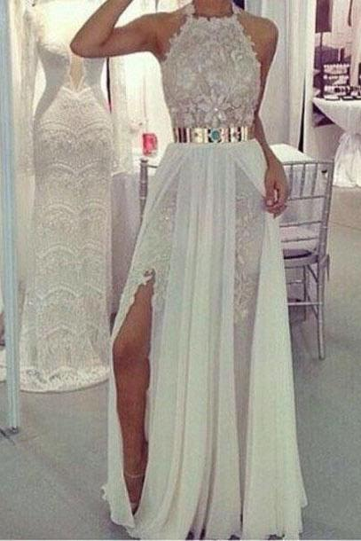 Halter Prom Dress,Lace Prom Dress,A-Line Prom Dress,Long Prom Dress,Elegant Prom Dress,15040122