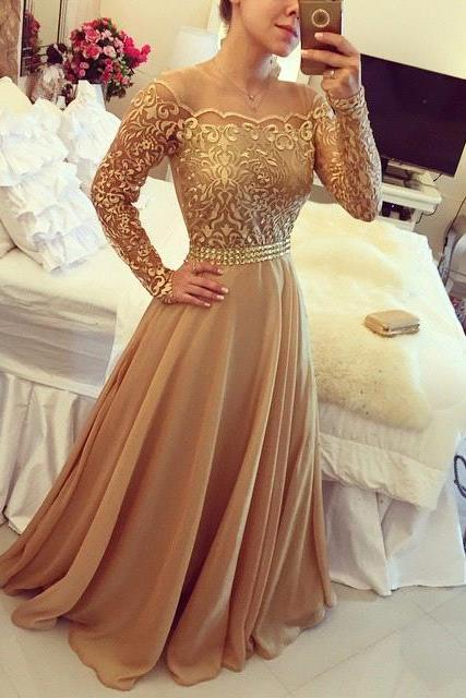New Evening Gowns Golden Off Shoulder Long Sleeves Chiffon A Line PArty Prom Dresses