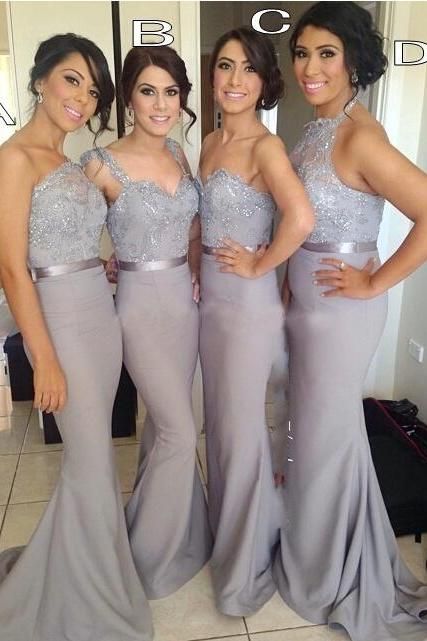 Customisable Grey Chiffon Floor Length Mermaid Bridesmaid Dresses with Sequin Adornments