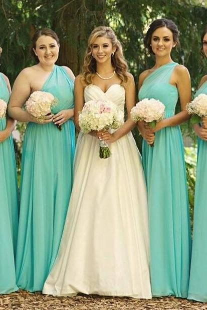 mint bridesmaid dresses,one shoulder bridesmaid dress,backless bridesmaid dress,A line chiffon bridesmaid dress,15042307