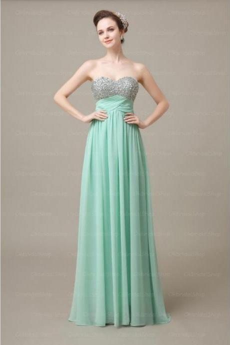 Custom Made Mint Green Sweetheart Neckline Sequin A-Line Floor Length Bridesmaid Dress