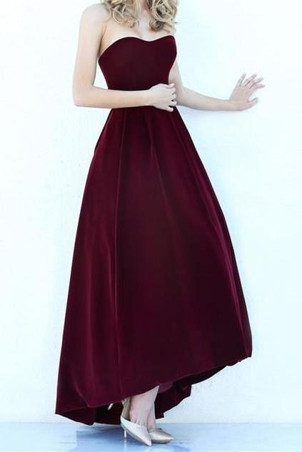 Modest High Low Burgundy Prom Gowns 2017 Wine Red Prom Dresses For Junior Teens