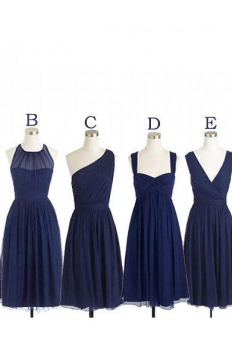 Navy bridesmaid dresses, cheap bridesmaid dresses, chiffon bridesmaid dresses,long bridesmaid dress, Custom bridesmaid dresses, 17127