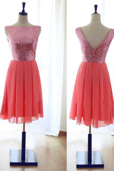 Simple Coral Sequin Chiffon Short Bridesmaid Dress,High Neck Back V Bridesmaid Dresses For Wedding,Prom Homecoming Dress