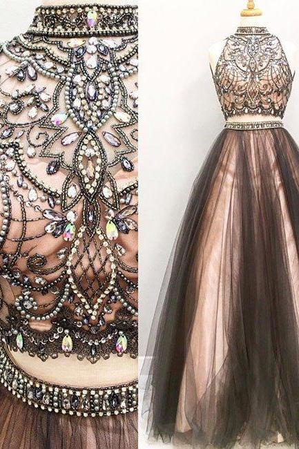 two pieces tulle long prom dresses,black evening dress,Sweet 16 Gowns For Teen Girls