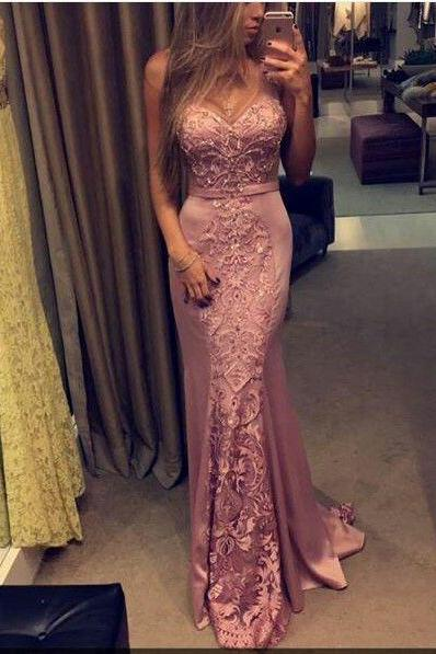 Pink Prom Dresses,2017 Mermaid Prom Dresses,Lace Prom Dresses,Satin Prom Dresses,New Fashions Sexy Prom Dresses