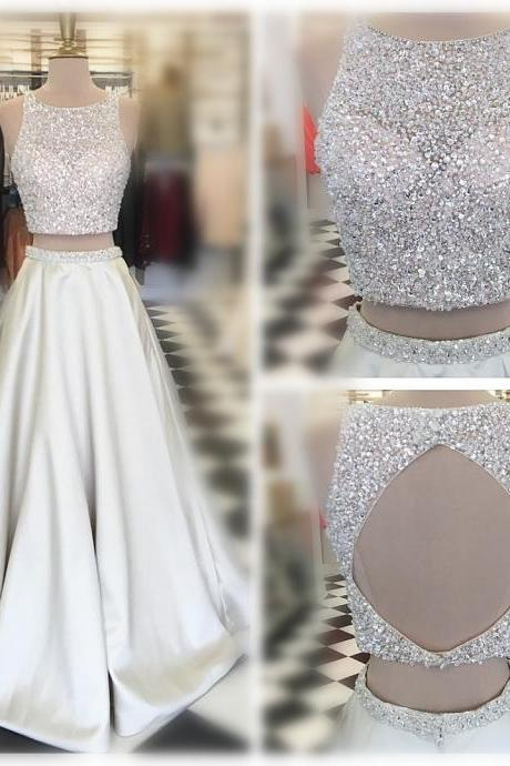 Two Piece Long Prom Dress,Beads Long Prom Dress,Sparkly Prom Dress 2017 Prom Dress