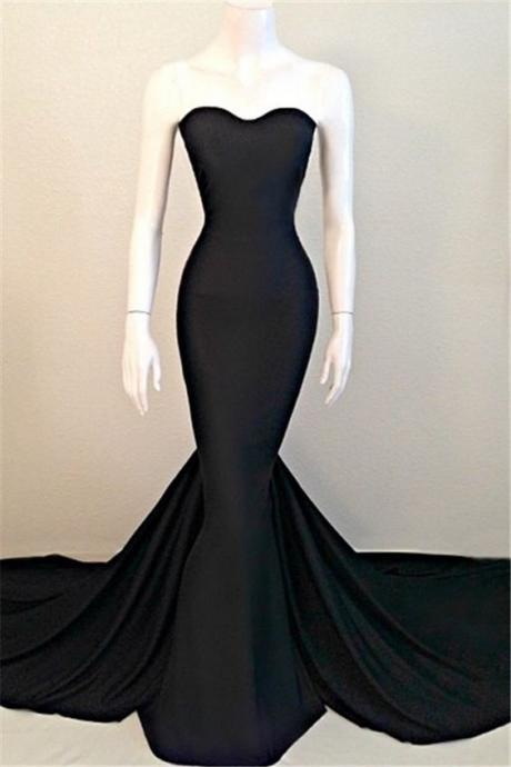 Sexy Mermaid Black Sweetheart Evening Dress 2017 Sleeveless Sweep Train Prom Dresses