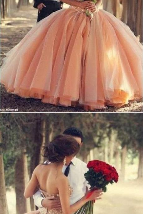 Blush Pink Tulle Wedding Dresses Ball Gown 2017 Sweetheart Bridal Gowns With Rhinestones Quinceanera Dresses