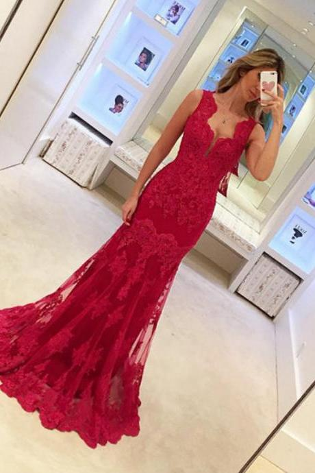 Graceful Mermaid Prom Dress Red Lace Sexy Evening Dresses For Women