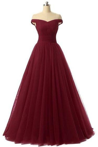 A-line Style Off the Shoulder Burgundy Tulle Prom Dress Formal Evening Homecoming Dress Ball Gown For Teens Fashion