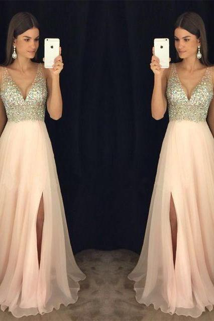 New Arrival Prom Dress,Modest Prom Dress, Sparkly Crystal Beaded V Neck Open Back Long Chiffon Prom Dresses 2017, Pageant Evening Gowns with Leg Slit