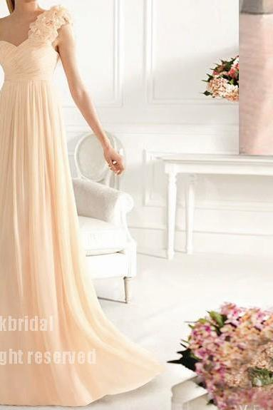 one shoulder bridesmaid dress, cheap bridesmaid dress, long bridesmaid dress, champagne bridesmaid dress, 13051