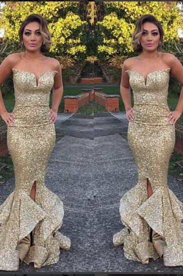 Gorgeous Strapless Mermaid Long Sequins Prom Dress Evening Dress with Side Slit