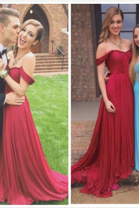 Simple Off the shoulder Burgundy Long Chiffon Prom Dress