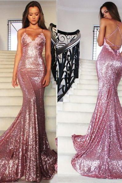 Sexy Straps Mermaid Long Sequins Prom Dress Evening Dress