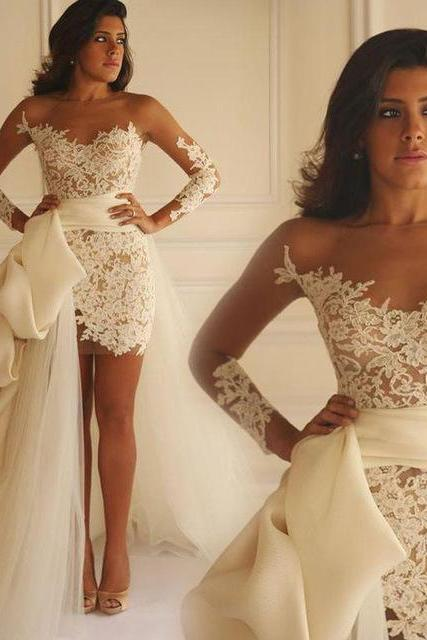 Sexy Ivory Lace Wedding Dress with Detachable Train