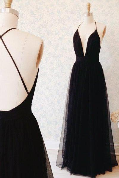 Black Plunging V Tulle A-line Floor-Length Prom Dress, Evening Dress Featuring Crisscross Back