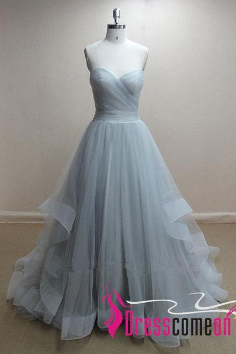 Gray Blue Evening Dresses Ball Gowns Ruffles Long Tulle High Low Tiered Prom Gowns For Fashion Teens
