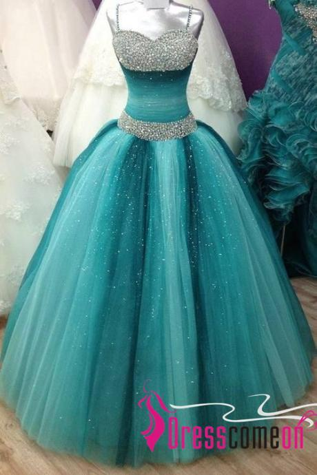 Multi-colors Prom Dresses With Beaded Straps Sequins Corset Long Tulle Long Quinceanera Dresses 2017 Ball Gown Blue Prom Dresses