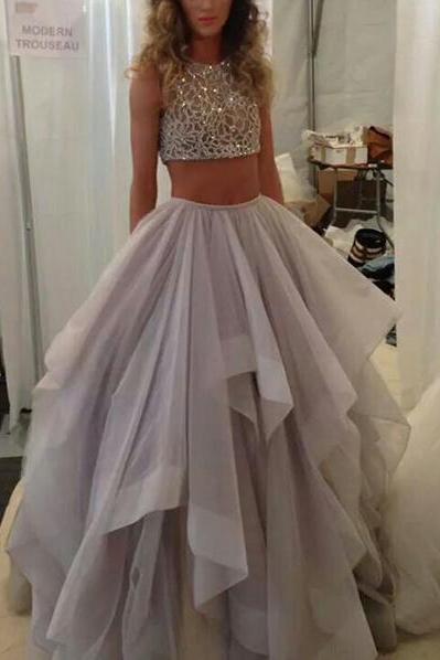 New Arrival 2 Pieces Ball Gown Prom Dresses,Two Piece High Low Quinceanera Dresses,High Neck Tiered Skirt Prom Gowns Evening Dresses