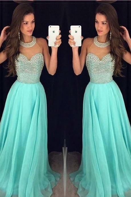 Hot Sales High Neck Heavy Beads Blue Chiffon Long Prom Dress,A Line Custom Made Evening Dreses Prom For Senior Junior Teens