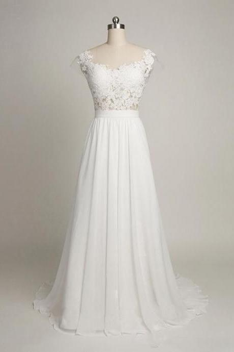 Elegant Beach Wedding Dresses,Cap Sleeves Back V Lace Wedding Dress,Cheap Bridal Gowns J97