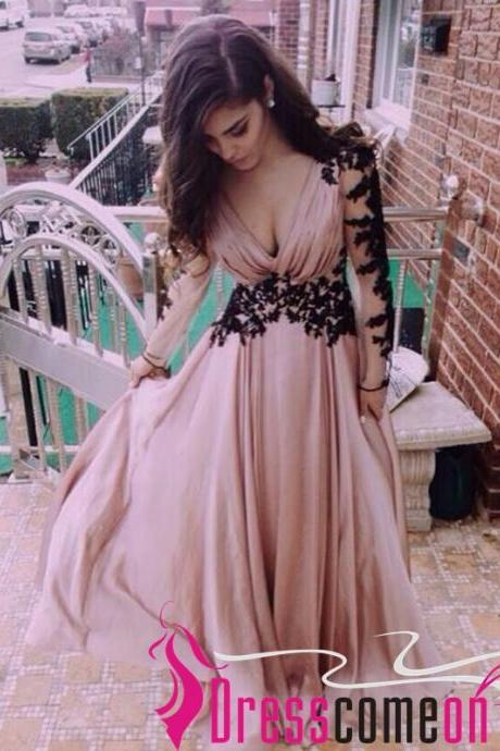 Hot Sales Long Sleeves Black Lace Pink Chiffon V Neck Prom Dress,Custom Made A Line Cheap Evening Prom Dresses,Party Gown